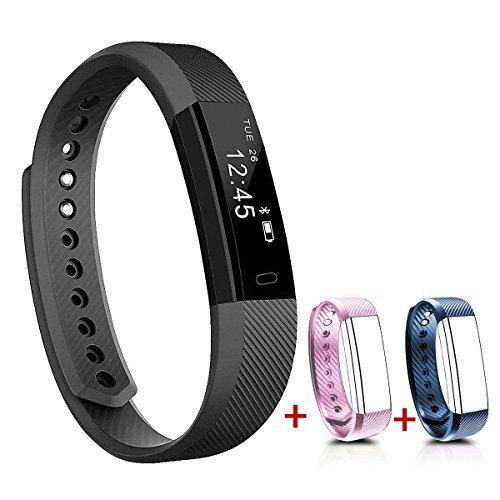 NAKOSITE SB2433 Schrittzähler Fitness Armband Activity Tracker, Kalorienzähler, Schlafüberwachung, Distanz Sportuhr, Bluetooth 4.0, für Android 4.4 oder IOS 7.1