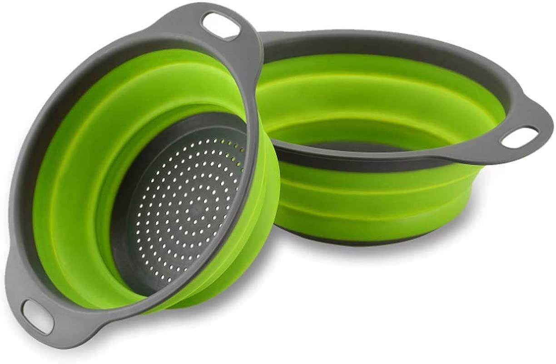GXABK Collapsible Colander Set 2 Pack Include Sizes 8 2 Quart And 9 5 3 Quart Food Grade Kitchen Strainer Space Saver Folding Strainer Colander Dishwasher Safe Green And Grey