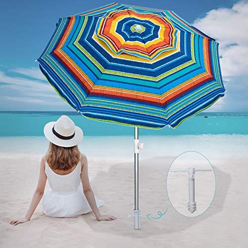 AMMSUN Beach Umbrella 6.5ft Umbrella with Sand Anchor & Tilt Aluminum Pole,...