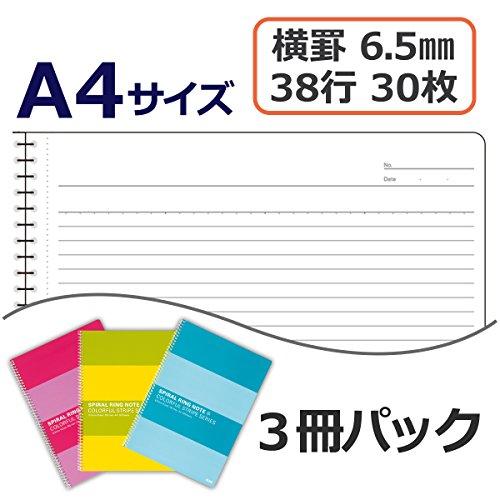 プラスリングノートA46.5mm横罫30枚3冊入RS-230-3P3色色込76802