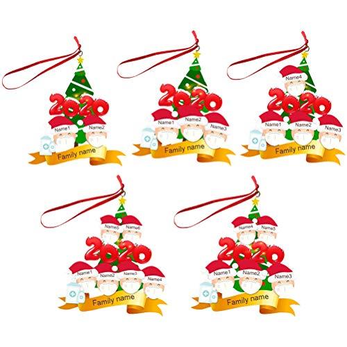 ABOOFAN 5pcs 2020 Santa Clause Snowman DIY Ornaments Christmas Pendants Christmas Decoration