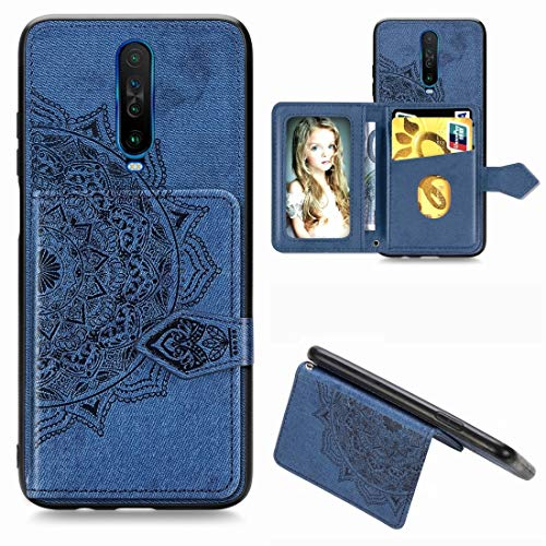 JIAHENG Phone Case For Xiaomi Redmi K30 Mandala Embossed Magnetic Cloth PU + TPU + PC Case with Holder & Card Slots & Wallet & Photo Frame & Strap PU Leather Cover Shell (Color : Blue)