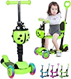 <span class='highlight'><span class='highlight'>Birtech</span></span> Kids Kick Scooter 3 Wheels Scooter for Toddler with Adjustable Removable Seat and Push Handle Toddler Scooter with LED Flashing Light Up Wheels for Boys Girls (Green)