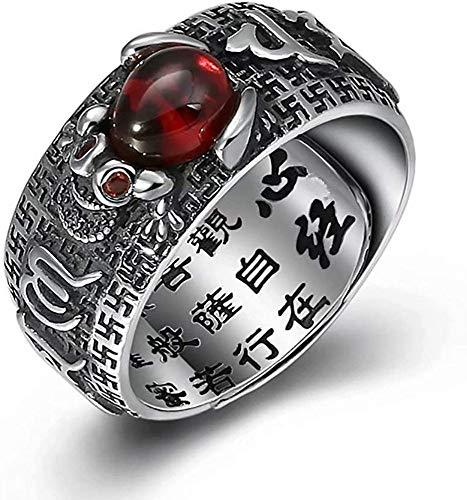 YS Anillos Estilo Chino Feng Shui Deletrear Proteccion de Los Hombres Sortija de Cuerpo Suerte Bendición Budismo Joyería de/Plata/Ajustable