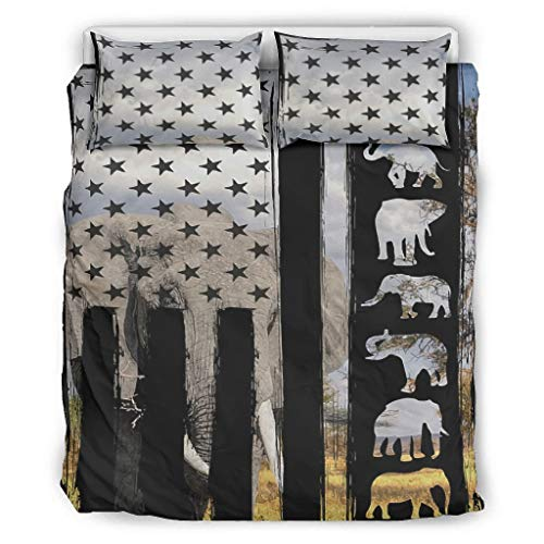 NiTIAN Elephant Flat Stylish Bedding Set dekbedovertrekset en kussensloop ademend eenpersoonsbed beddengoed set voor kinderen met rits