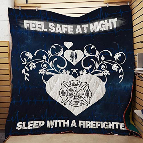 GLD Firefighter Feel Safe at Night Sleep with Firefighter Sherpa Fleece Quilt Blanket, Soft Microfiber Plush Blanket (45x50 inches, 55x60 inches, 75x85 inches, 80x90 inches, 91x102 inches)