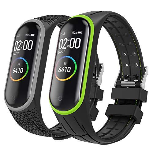 MoKo 2-Pack Bracelet pour Xiaomi Mi Band 3/Mi Band 4, Montre de Remplacement de Silicone Bracelet de Sport avec Le Fermoir - Vert et Gris