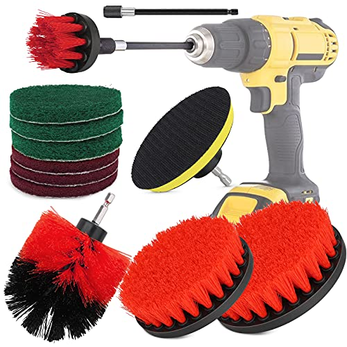 Drill Brushes , Polish Brush Drill Attachment Electric Drill Brushes Power Scrubber Drill Brush Kit Scrub for Cleaning Pool Tile, Car, Flooring, Brick, Ceramic, Marble, Bathroom