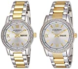 Akribos XXIV Men's and Women's Watch Matching Set - His and Her and Crystal Filled Watch Roman Numerals With Date Window on Stainless Steel Two-Tone Bracelet - AK888