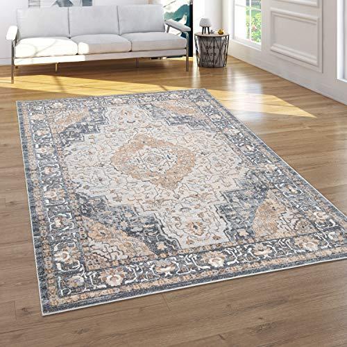 Paco Home Teppich Wohnzimmer Kurzflor Vintage Orientalisches Muster 3D Effekt Grau Beige, Grösse:60x100 cm
