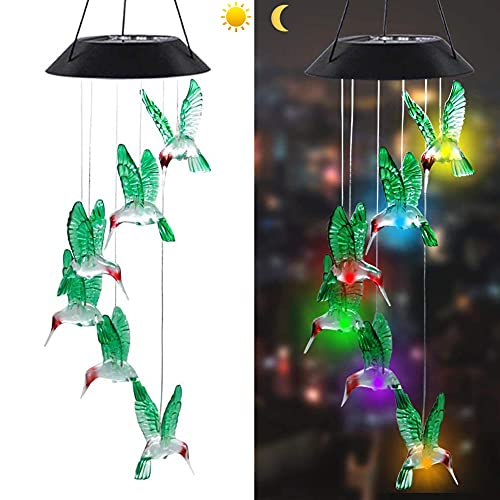 Shaboo Prints Solar LED Wind Chimes Lights Multi Color-Changing Outdoor LED Chandelier Light Hanging Clear Acrylic Waterproof Decorative for Patio Yard Garden Home Flower shed (Red Hummingbird)