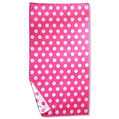SUPERIOR 100% Cotton Luxury Beach Towels - Oversized Beach Towel, 450 GSM Swim Towel, Pink Polka Dots (34