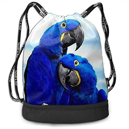 DJNGN Mochila con cordón, Loro Azul Que Abraza el Bolso de la Mochila del Paquete del Gimnasio del Viaje del Deporte de la impresión