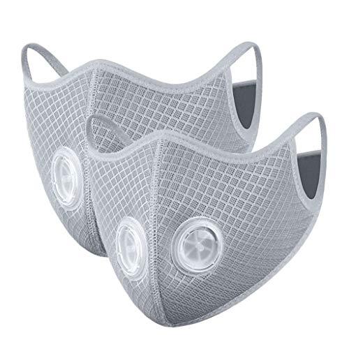 SUMTTER Gesichtsschal Atmungsaktiver wiederverwendbarer Anti-Staub-Mundschutz Face Cover, Gesichtsschutz, MundStoff, Herren Sport Motorrad Halstuch Atmungsaktiv Mundschutz(Grau,2PC)