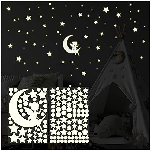 Leuchtmotiv 126 pcs Leuchtsterne Sterne Punkte Sternenhimmel Wandsticker Aufkleber Wandtattoo Kinderzimmer selbstklebend fluoreszierend nachtleuchtend Y058 (Fee)