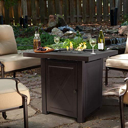 Barton Fire Pit Table Fire Glass Fireplace Outdoor Garden Ignition Control Patio Heater Firepit 46,000BTU