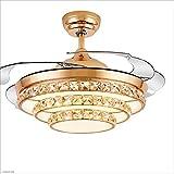 Ventilador de techo Ventilador de techo de cristal Luces Lámparas Comedor moderno Sala de estar Dormitorio Lámpara de cristal dorado Ventilador de control remoto, 220V Luces de ventilador de techo par