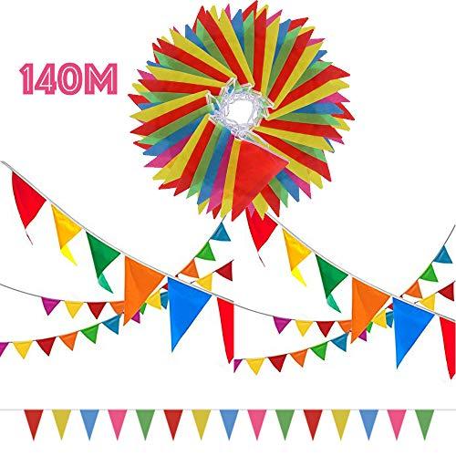 SERWOO 140m/290pcs Guirnaldas Banderas Banderines Fiesta Colores Triángulo Bunting Colgantes Decoración Cumpleaños Boda Celebracion Bienvenida Navidad Víspera Bar Adornos, 140m Total, 17*28cm