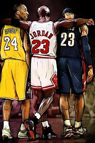 FoveroPoster - Póster de baloncesto de la NBA con diseño de Kobe Bryant, Michael Jordan y Lebron James (30,5 x 35,6 cm)