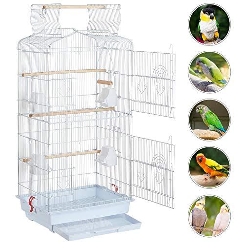 Yaheetech Vogelkäfig Vogelvoliere Tierkäfig Vogelhaus für Papagei Wellensittich 46 x 35.5 x 104.5cm Weiß