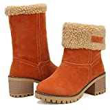 DOTACOKO Women Cute Warm Short Boots Suede Chunky Mid Heel Round Toe Winter Snow Ankle Booties …