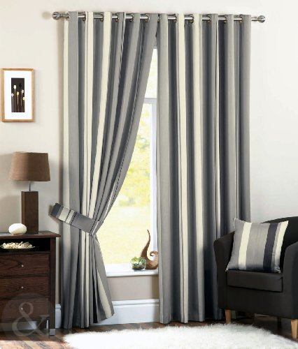 Curtains Ideas charcoal and cream curtains : How to LUXURY STRIPED Faux Silk CURTAINS Ready Made Eyelet Ring ...
