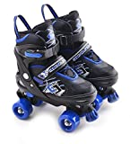 Childrens Adults Kids Boys Girls 4 Wheel Adjustable Quad Roller Skates Boots (Blue/Black, Medium/UK 2-4/)