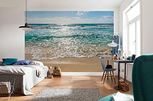 Komar - fotobehang SEASIDE - 368 x 254 cm - behang, muurdecoratie, wandbehang, zee, strand, golven, zandstrand, zeeroodjes - 8-983