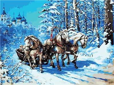 Pintura por Números para Adultos DIY Pintura al óleo sobre Carro de caballos del bosque de nieve Lienzo Pintar por Numeros para Adultos Principiantes 40x50cm (Sin Marco)