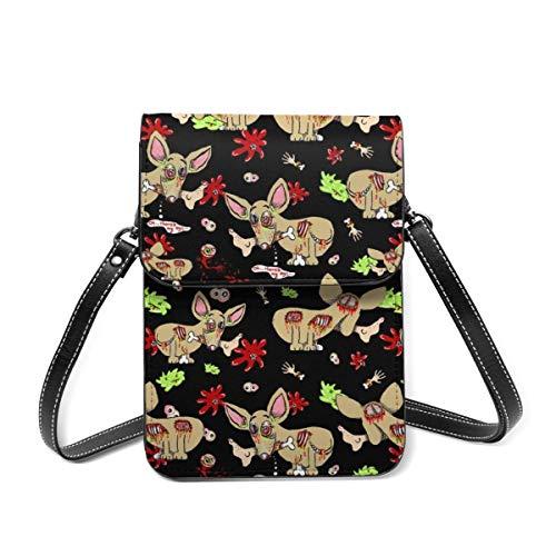 Kleine Umhängetasche, Zombie-Chihuahua-Hund auf schwarzer Umhängetasche, Handytasche, Geldbörse, leichte Crossbody-Tasche für Frauen und Mädchen