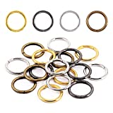 Swpeet 60Pcs Heavy Duty 4 Colors 1 Inch / 25mm Sliver Multi-Purpose Metal O Ring Metal Rings for Hardware Bags Ring Hand DIY Accessories Keychains Belts and Dog Leas