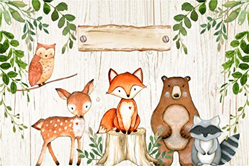 Leyiyi 5x3ft Woodland Baby Birthday Backdrop Safari Jungle Animals Theme Baby Shower Party Banner Decorations Photography Background Cartoon Zoo Kids Portrait Photo Booth Studio Prop Vinyl Wallpaper