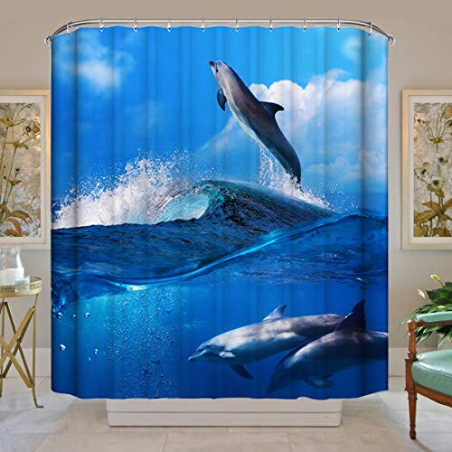 Cat, 200X180cm Topmail Shower Curtains 100/% Polyester 3D Bathroom Curtains Waterproof Anti Mould Curtains 12PCS Hooks Dolphin Bath Curtains
