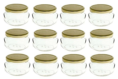 Nakpunar 12 pcs 11 oz Glass Tureen Jars with Gold Lids - 325 ml