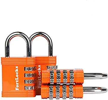 FortLocks Padlock - 4 Digit Combination Lock for Gym Outdoor & School Locker, Fence, Case & Shed – Heavy Duty Resettable Set