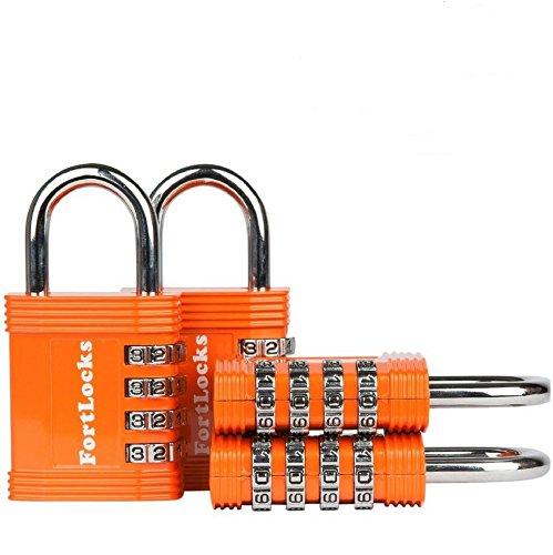 FortLocks Padlock Set - 4 Digit Combination Lock for Gym Outdoor & School...