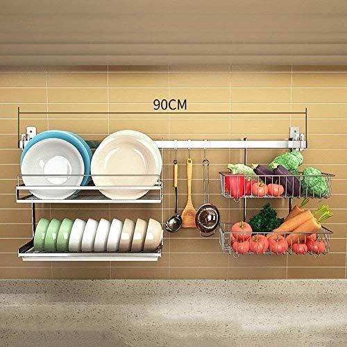 De Cocina de Acero Inoxidable 304, de Acero Inoxidable - Escurridor de Platos de Pared |Cesta Doble para Vegetales - con Varilla de 90 Cm y 3 Ganchos, A, B (Color: B)