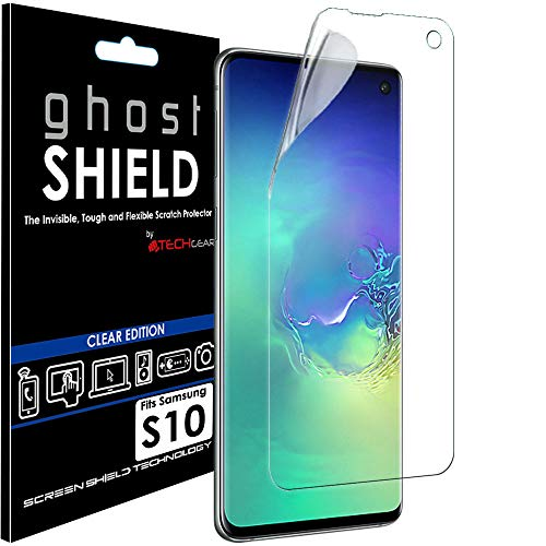 TECHGEAR Screen Protector past op Samsung Galaxy S10 [ghostSHIELD Edition] Echte Versterkte TPU film Screen Protector Guard Covers [FULL Screen Coverage] Gebogen scherm (Niet voor S10e, S10+)