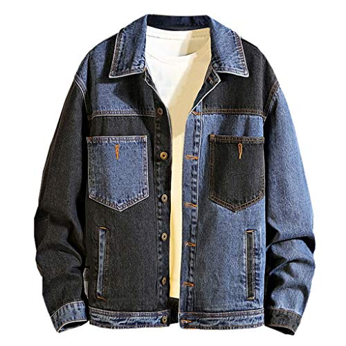 eipogp Patchwork Denim Jacket Button Down Vintage Oversized Casual Jean Coat Outwear Autumn Winter Blouse Tops
