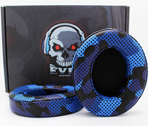 Custom Beats Cushions/Ear-Pads by Evil Cushions - Compatible with Beats by Dre Studio 2.0 Wired/Wireless & Studio 3.0 Over-Ear Dr. Dre Headphones (Does NOT fit Solo) - Blue Camo