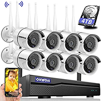 【2021 New】 Security Camera System Wireless 4TB Hard Drive Pre-Install 8 Channel 1080P NVR 8PCS 1080P 2.0MP CCTV WI-FI IP Cameras for Homes,OHWOAI HD Surveillance Video Security System.