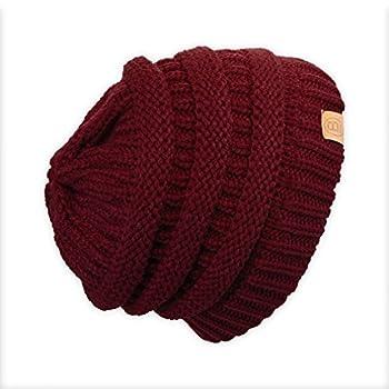BASICO Beanie Hat Cap Knit Skullies for Men Women Unisex  A-Burgundy