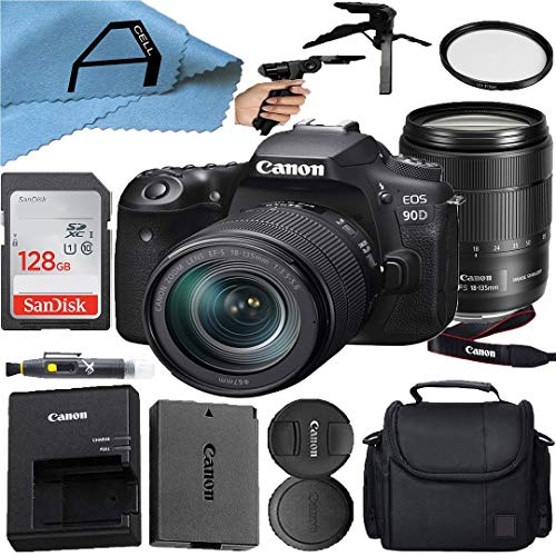 Canon EOS 90D 32.5MP DSLR Camera with EF-S 18-135mm Zoom Lens, SanDisk...