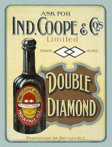 Vintage Sign Gifts Living Fashion 16x12inches,Ind Coope Double Diamond India Pale Ale IPA,Bottle of Beer,Old Vintage Advert for Pub,bar,House,Home or Kitchen