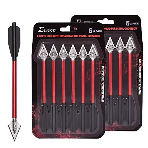 "Aluminium Crossbow Bolts Arrows 6.5"" Steel Broadhead Tips Hunting Arrows for 50-80lbs Mini Crossbow Archery Pistol - Fishing Hunting Target Practice (Pack of 6)"