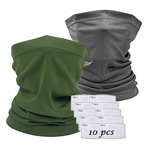 X-CHENG Scarf Bandanas Mask - Multi-Purpose Bandana Mask Neck Gaiter with Safety Carbon Filters for Men Women Sports&Outdoors (Grey+Green)