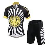 LPATTERN Ropa Conjunta de Ciclismo Bicicleta Maillot de Manga Corta + Pantalones Secado Rápido para Niños Niñas, Negro/Amarillo, 10-11 años/XL