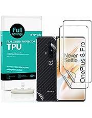 Ibywind Schermbeschermers voor OnePlus 8 Pro,[Pack van 2],met [Cameralens beschermfolie][Back Carbon Fiber beschermfolie][In-Display Vingerafdrukondersteuning][Bubble Gratis]