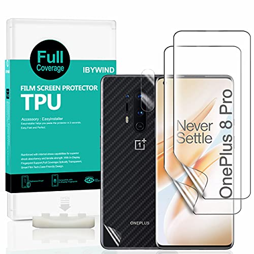 Ibywind Protector de Pantalla para OnePlus 8 Pro [2 Piezas],con Protector de Lente de Cámara,Atrás Pegatina Protectora Fibra de Carbono,[Admite la función de Huella Digital]