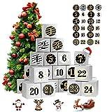 ShaSha Calendario de Adviento,24 Calendario Adviento DIY,Cajas de Regalo Navidad Calendario de Adviento,con 24 Adhesivos Digitales,para Navidad, Fiesta, Decoración de Regalos (Plata)